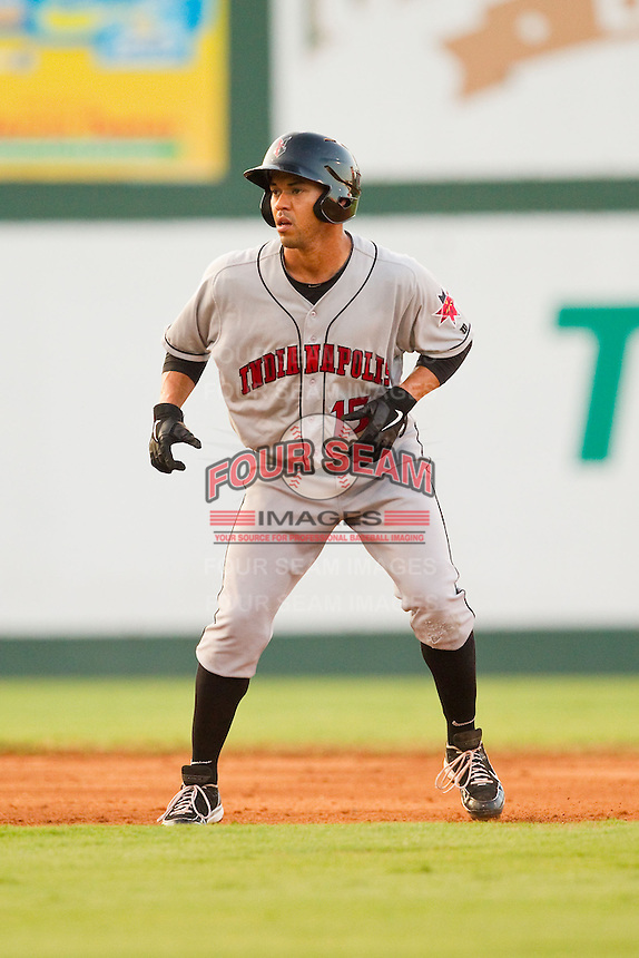 Ivan DeJesus Jr. (15) of the Indianapolis Indians takes his lead off of second base against the Charlotte Knights at Knights Stadium on July 22, 2012 in Fort Mill, South Carolina.  The Indians defeated the Knights 17-1.  (Brian Westerholt/Four Seam Images)