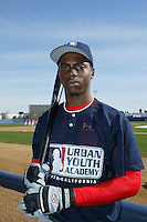 February 10 2008: James Gant participates in a MLB pre draft workout for high school players at the Urban Youth Academy in Compton,CA.  Photo by Larry Goren/Four Seam Images