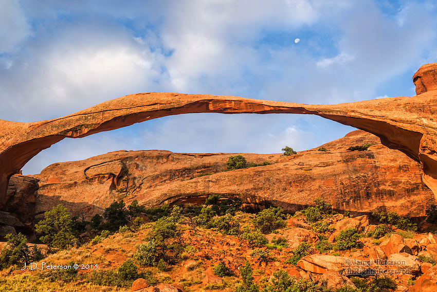 Landscape Arch with Half Moon, Utah