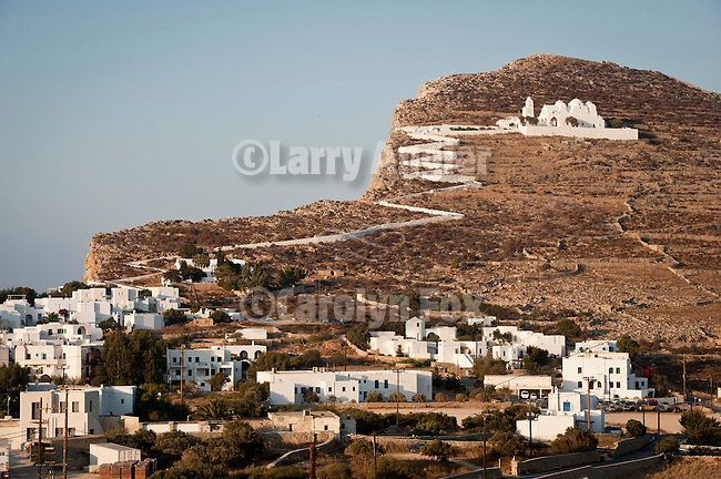 View of the Chora and The Assumption of the Virgin Mary Church (Panaghia church) above the village from the Ampelos Resort, Folegandros, Cyclades, Greece