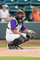 Winston-Salem Dash catcher Miguel Gonzalez #3 looks to the dugout for the pitch call during the Carolina League game against the Potomac Nationals at BB&T Ballpark on June 13, 2012 in Winston-Salem, North Carolina.  The Dash defeated the Nationals 5-3.  (Brian Westerholt/Four Seam Images)