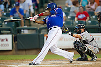 Round Rock Express outfielder Joey Butler #16 swings during the Pacific Coast League baseball game against the Fresno Grizzlies on May 19, 2012 at The Dell Diamond in Round Rock, Texas. The Grizzlies defeated the Express 10-4. (Andrew Woolley/Four Seam Images)