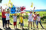 Happy fans at the roadside during Stage 5 of the 2019 Tour de France running 175.5km from Saint-Die-des-Vosges to Colmar, France. 10th July 2019.<br /> Picture: ASO/Alex Broadway | Cyclefile<br /> All photos usage must carry mandatory copyright credit (© Cyclefile | ASO/Alex Broadway)