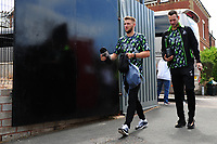 (L-R) Brandon Cooper and Erwin Mulder arrive for the pre season friendly match between Exeter City and Swansea City at St James Park in Exeter, England, UK. Saturday, 20 July 2019
