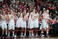 STANFORD, CA - March 21, 2011: The Stanford Cardinal celebrates during Stanford's 75-51 win over St. John's during the second round of the NCAA tournament at Maples Pavilion in Stanford, California.