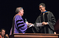 Interim Vice President for Academic Affairs and Dean of the College Kerry Thompson presents politics associate professor Thalia Gonzalez (not present) and art history and the visual arts professor Eric Frank with the Linda and Tod White Teaching Prize. 508 members of the Class of 2020 are welcomed to Occidental College by trustees, faculty and staff in Thorne Hall on Aug. 30, 2016 during Oxy's 129th Convocation ceremony, a tradition that formally marks the start of the academic year and welcomes the new class.<br /> (Photo by Marc Campos, Occidental College Photographer)