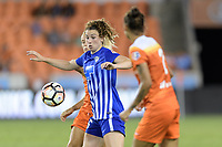 Houston, TX - Wednesday June 28, 2017: Morgan Andrews attempts to gain control of a loose ball during a regular season National Women's Soccer League (NWSL) match between the Houston Dash and the Boston Breakers at BBVA Compass Stadium.