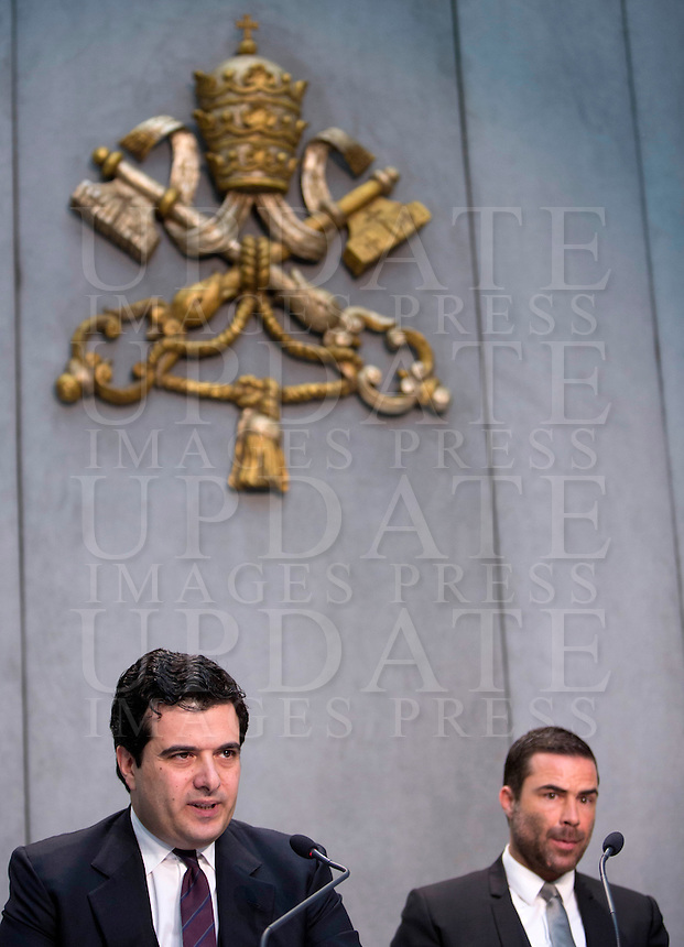 Il direttore dell'Autorità di Informazione Finanziaria (AIF) Tommaso Di Ruzza, sinistra, e il presidente Rene' Brulhart durante la conferenza stampa per la presentazione del rapporto annuale, Citta' del Vaticano, 28 aprile 2016.<br /> Tommaso Di Ruzza, president of the Financial Information Authority (AIF) of Vatican City, left, and president Rene' Bruelhart attend a press conference to present the annual report, at the Vatican, 28 April 2016.<br /> UPDATE IMAGES PRESS/Riccardo De Luca<br /> <br /> STRICTLY ONLY FOR EDITORIAL USE