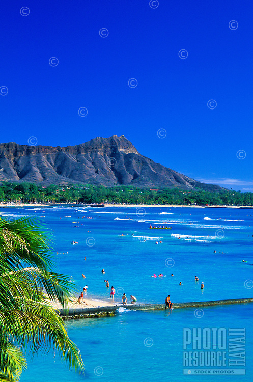 Diamond Head Crater. One of Hawaii's most distinguishable landmarks, located near famous Waikiki Beach on the island of Oahu.