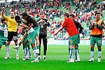 FBL  2007/2008 34. Spieltag Rueckrunde<br /> <br /> Bayer 04 Leverkusen vs. SV Werder Bremen<br />  Jubel beiDiego ( Bremen BRA #10 ), Keeper Christian Vander ( Bremen GER# 33 )Naldo ( Bremen BRA #4 )Sebastian Boenisch ( Bremen GER #2 )Robbert te Loeke (Bremen - NED #21)Ivan Klasnic ( Bremen CRO #17 )Dusko Tosic (Bremen SRB #13)Mesut Oezil  ( Bremen GER #11)<br /> Foto &copy; nph (  nordphoto  )<br /> <br /> <br /> <br />  *** Local Caption ***