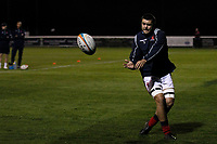 Lewis Wynne of London Scottish in the warm up during the Championship Cup match between London Scottish Football Club and Yorkshire Carnegie at Richmond Athletic Ground, Richmond, United Kingdom on 4 October 2019. Photo by Carlton Myrie / PRiME Media Images