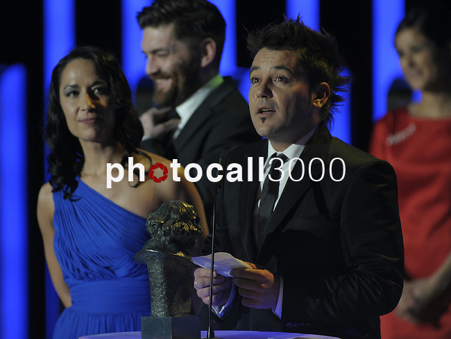 "Raul de La Fuente gives a speech after winning the Goya award for best documentary shortfilm for the film "" Minerita""   at the Goya Film Awards ceremony in Madrid on February 9, 2014. Photo by Ivan Espinola/ DyD FOTOGRAFOS-DYDPPA"