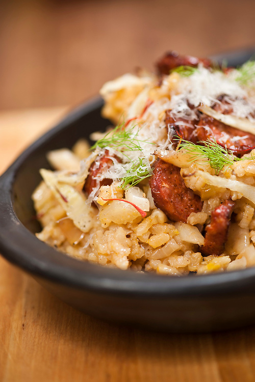 El Choto Spanish Foods, Spanish rice with chorizo, fennel and Manchego.