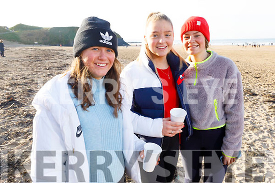 Sophie Clein, Jilly Edwards and Eimear Ling from Abbeyfeale at the Con Hartnett Memorial swim in Ballybunion on New Years Day.