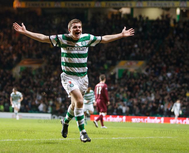 James Forrest celebrates his goal for Celtic