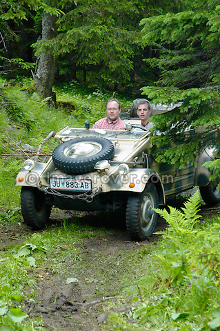 Austria, Boesenstein Offroad Classic, Hohentauern, Steiermark, 25-26.06.2005. Volkswagen Kuebel VW Wehrmachtskuebel, Reg JU883AB. --- No releases available. Automotive trademarks are the property of the trademark holder, authorization may be needed for some uses.