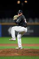 Fayetteville Woodpeckers pitcher Riley Cabral (41) during a Carolina League game against the Down East Wood Ducks on August 13, 2019 at SEGRA Stadium in Fayetteville, North Carolina.  Fayetteville defeated Down East 5-3.  (Mike Janes/Four Seam Images)
