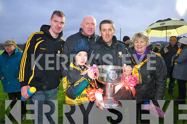 "Dr Crokes fans celebrate after their team won the Senior County Football final at Austin Stack Park on Sunday from left: Richard O""Connell, Conor Counihan, Padraig O'Connell, Matt Courtney and Siobhan Courtney.. Crokes v  Dingle in the Senior County Final at Austin Stack Park on Sunday."