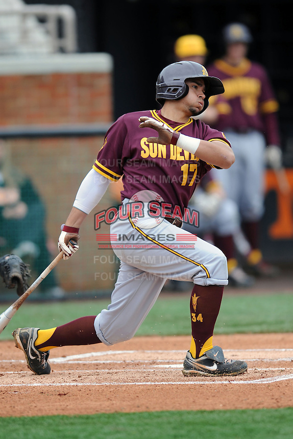 Arizona State Sun Devils shortstop Drew Stankiewicz #17 swings at a pitch during a game against  the Tennessee Volunteers at Lindsey Nelson Stadium on February 23, 2013 in Knoxville, Tennessee. The Volunteers won 11-2.(Tony Farlow/Four Seam Images).