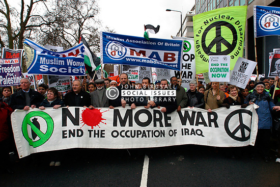George Galloway MP leading march against war & occupation of Iraq, Central London UK 20 March 2004 UK
