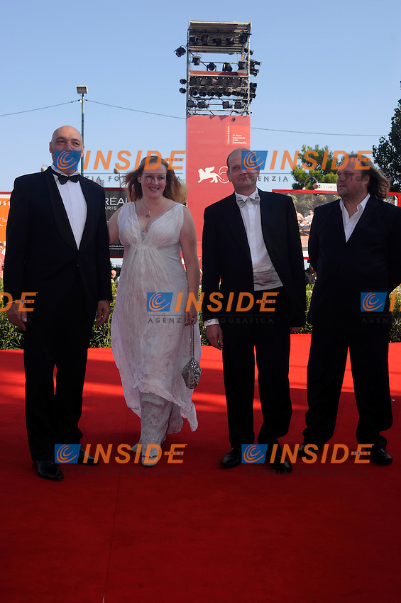 "- ""67 Mostra Internazionale D'Arte Cinematografica"". Saturday, 2010 September 04, Venice ITALY..- In The Picture: The film director Aleksei Fedorchenko with the actors Yuriy Tsurilo, Yuliya Aug and Igor Sergeyev on the red carpet for the premiere of the film  ""OVSYANKI (SILENT SOULS)""...Photo STEFANO MICOZZI / Insidefoto"