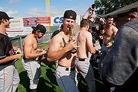 Batavia Muckdogs Jack Strunc celebrates after clinching the Pinckney Division Title during a NY-Penn League game against the Auburn Doubledays on September 2, 2019 at Falcon Park in Auburn, New York.  Batavia defeated Auburn 7-0 to clinch the Pinckney Division Title.  (Mike Janes/Four Seam Images)