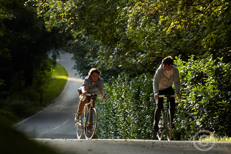 Sam and Josh  riding  Carrera Road Bikes , Virginia Water, Surrey September 2011