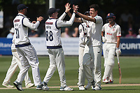 Matthew Fisher of Yorkshire takes a fine catch off of his own bowling to dimiss Nick Browne and celebrates with his team mates during Essex CCC vs Yorkshire CCC, Specsavers County Championship Division 1 Cricket at The Cloudfm County Ground on 7th July 2019