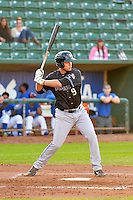 Trevor Mitsui (9) of the Missoula Osprey at bat against the Ogden Raptors in Pioneer League action at Lindquist Field on August 5, 2014 in Ogden, Utah.  (Stephen Smith/Four Seam Images)