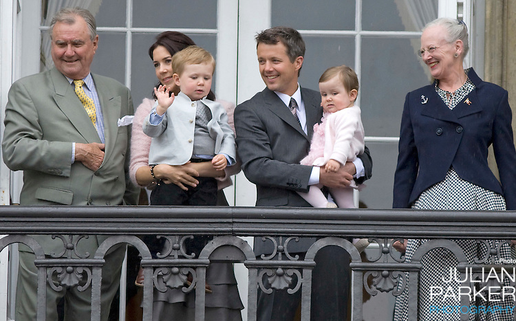 Crown Prince Frederik with Crown Princess Mary and their children Prince Christian (age 2) and Princess Isabella (age 1) are joind by Queen Margrethe and Prince Henrik at Amalienborg palace in Copenhagen for Prince Frederiks 40th birthday celebrations.