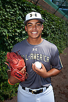 Jesus Luzardo (9) of Marjory Stoneman Douglas High School in Parkland, Florida poses for a photo before the Under Armour All-American Game on August 15, 2015 at Wrigley Field in Chicago, Illinois. (Mike Janes/Four Seam Images)