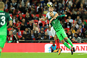 5th October 2017, Wembley Stadium, London, England; FIFA World Cup Qualification, England versus Slovenia; Gary Cahill of England wins a header against Tim Matavz of Slovenia