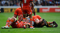 Jordan Crane of Leicester Tigers secures the ball at the breakdown