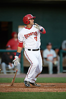 Harrisburg Senators third baseman Drew Ward (17) at bat during a game against the Bowie Baysox on May 16, 2017 at FNB Field in Harrisburg, Pennsylvania.  Bowie defeated Harrisburg 6-4.  (Mike Janes/Four Seam Images)