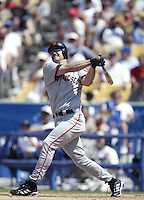 Jeff Kent of the San Francisco Giants bats during a 2002 MLB season game against the Los Angeles Dodgers at Dodger Stadium, in Los Angeles, California. (Larry Goren/Four Seam Images)