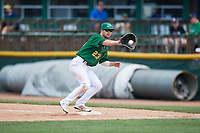Beloit Snappers first baseman Jack Meggs (23) receives a throw during a game against the Dayton Dragons on July 22, 2018 at Pohlman Field in Beloit, Wisconsin.  Dayton defeated Beloit 2-1.  (Mike Janes/Four Seam Images)