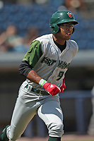 Fort Wayne TinCaps outfielder Buddy Reed (9) runs to first base against the West Michigan Michigan Whitecaps during the Midwest League baseball game on April 26, 2017 at Fifth Third Ballpark in Comstock Park, Michigan. West Michigan defeated Fort Wayne 8-2. (Andrew Woolley/Four Seam Images)