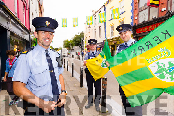 Kerry Footballer Garda Aidan O'Mahony with colleagues Mick Dowling and Stephen Griffin on the beat in Tralee on Monday.