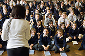 Years 5 & 6 choir practice, St Mary and St Michael Primary School, Stepney, Tower Hamlets, London