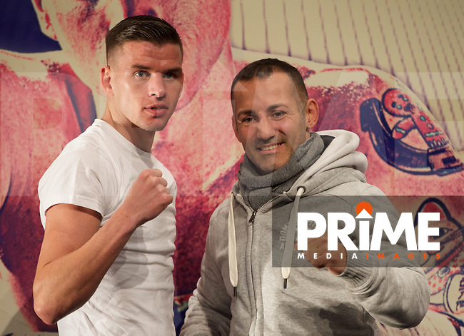 Martin J Ward (left) & Mario Pasanti during the final press conference ahead of the George Groves v Andrea di Luisa fight set for Saturday 30th January 2016 at the Copper Box, at Stratford Circus, Theatre Square, England on 28 January 2016. Photo by Alan  Stanford/PRiME Media Images.