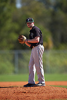 Plymouth State Panthers starting pitcher Cam Cossette (3) gets ready to deliver a pitch during the second game of a doubleheader against the Edgewood Eagles on March 17, 2016 at Lee County Player Development Complex in Fort Myers, Florida.  Plymouth State defeated Edgewood 16-3.  (Mike Janes/Four Seam Images)
