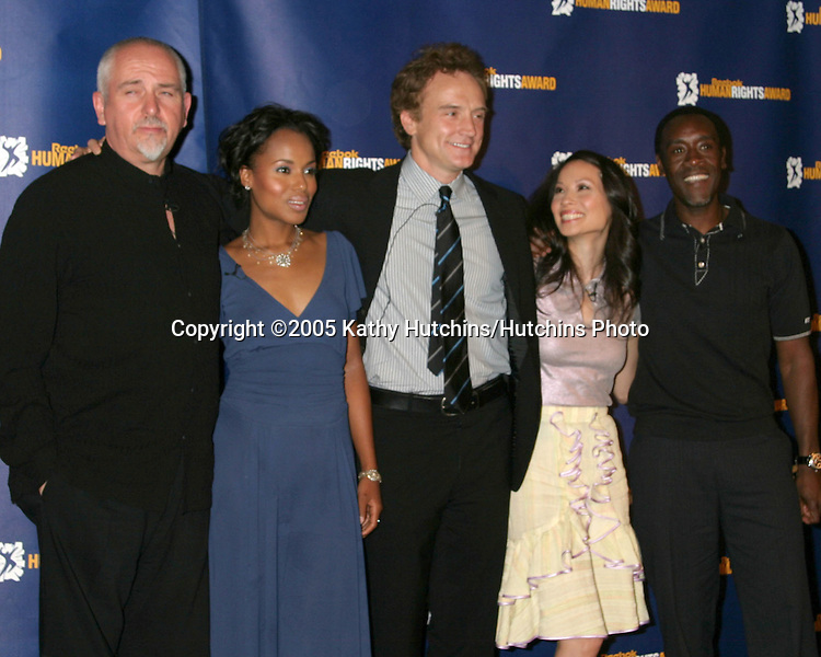 Peter Gabriel.Kerry Washington.Bradley Whiitford.Lucy Liu.Don Cheadle.2005 Reebok Human Rights Award.Royce Hall, UCLA.Westwood, CA.May 11, 2005.©2005 Kathy Hutchins / Hutchins Photo