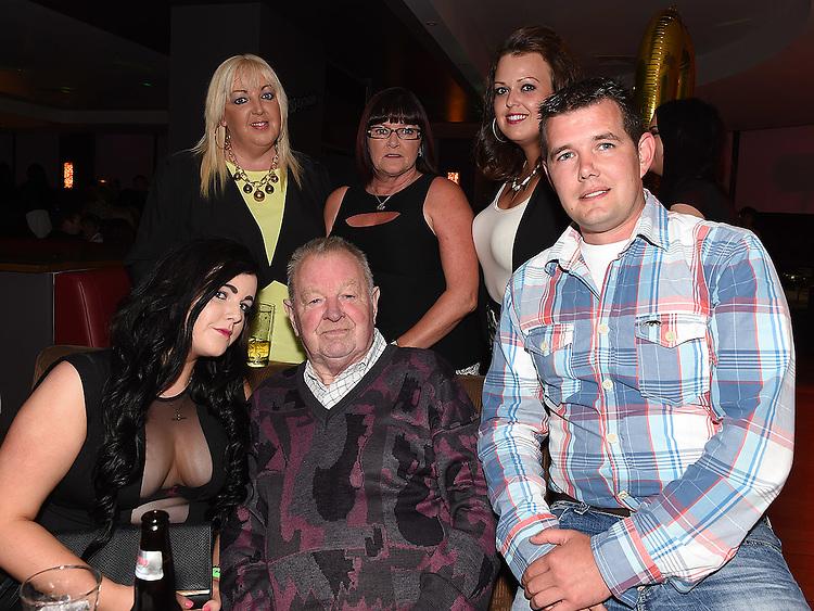Wayne Hurley celebrating his 30th birthday in Brú with friends Debbie McCole, Simone McCole, Gary Reilly, Danielle McCole and Brenda Murphy.  Photo:Colin Bell/pressphotos.ie