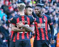 Joshua King of AFC Bournemouth middle celebrates his goal with David Brooks of AFC Bournemouth and Jefferson Lerma of AFC Bournemouth during AFC Bournemouth vs Arsenal, Premier League Football at the Vitality Stadium on 25th November 2018