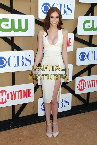 Alyssa Campanella<br /> CBS, Showtime, CW 2013 Summer Stars Party held at 9900 Wilshire Blvd., Beverly Hills, California, USA.<br /> July 29th, 2013<br /> full length white dress plunging neckline cleavage slit split clutch bag<br /> CAP/ADM/BP<br /> &copy;Byron Purvis/AdMedia/Capital Pictures