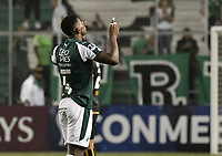 PALMIRA - COLOMBIA, 04-04-2019: Danny Rosero Valencia del Cali celebra después del partido por la primera ronda de la Copa CONMEBOL Sudamericana 2019 entre Deportivo Cali de Colombia y Club Guaraní de Paraguay jugado en el estadio Deportivo Cali de la ciudad de Palmira. / Danny Rosero Valencia of Cali celebrates after match for the first round as part Copa CONMEBOL Sudamericana 2019 between Deportivo Cali of Colombia and Club Guarani of Paraguay played at Deportivo Cali stadium in Palmira city.  Photo: VizzorImage / Gabriel Aponte / Staff