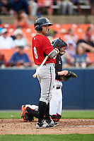 Carolina Mudcats Joseph Daris (7) at bat during a game against the Frederick Keys on June 4, 2016 at Nymeo Field at Harry Grove Stadium in Frederick, Maryland.  Frederick defeated Carolina 5-4 in eleven innings.  (Mike Janes/Four Seam Images)