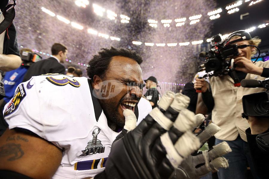 Feb 3, 2013; New Orleans, LA, USA; Baltimore Ravens guard Bobbie Williams (63) celebrates after defeating the San Francisco 49ers in Super Bowl XLVII at the Mercedes-Benz Superdome. Mandatory Credit: Mark J. Rebilas-