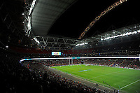 20131018 Copyright onEdition 2013©<br /> Free for editorial use image, please credit: onEdition<br /> <br /> General view of Wembley Stadium during the Heineken Cup match between Saracens and Stade Toulousain at Wembley Stadium on Friday 18th October 2013 (Photo by Rob Munro)<br /> <br /> For press contacts contact: Sam Feasey at brandRapport on M: +44 (0)7717 757114 E: SFeasey@brand-rapport.com<br /> <br /> If you require a higher resolution image or you have any other onEdition photographic enquiries, please contact onEdition on 0845 900 2 900 or email info@onEdition.com<br /> This image is copyright onEdition 2013©.<br /> This image has been supplied by onEdition and must be credited onEdition. The author is asserting his full Moral rights in relation to the publication of this image. Rights for onward transmission of any image or file is not granted or implied. Changing or deleting Copyright information is illegal as specified in the Copyright, Design and Patents Act 1988. If you are in any way unsure of your right to publish this image please contact onEdition on 0845 900 2 900 or email info@onEdition.com