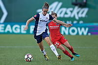 Portland, OR - Saturday July 22, 2017: Havana Solaun, Meghan Klingenberg during a regular season National Women's Soccer League (NWSL) match between the Portland Thorns FC and the Washington Spirit at Providence Park.